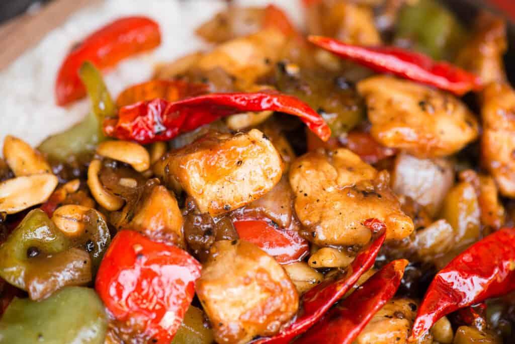 close up of homemade Szechuan Chicken