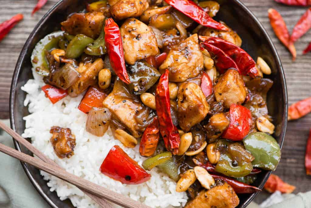 close up of Szechuan Chicken with chili peppers