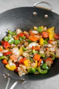 sauteed bell peppers and onions