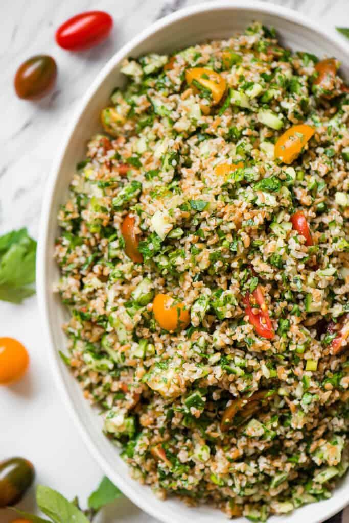 veganTabouli Salad with vegetables and herbs