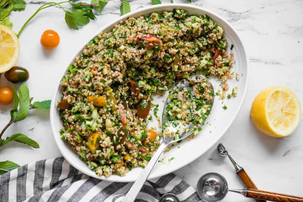 oval dish with homemade Tabouli Salad
