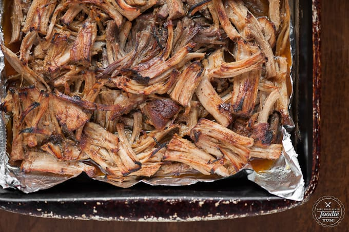 shredded meat in a pan