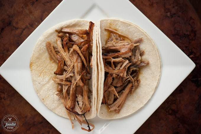 corn tortillas and shredded meat