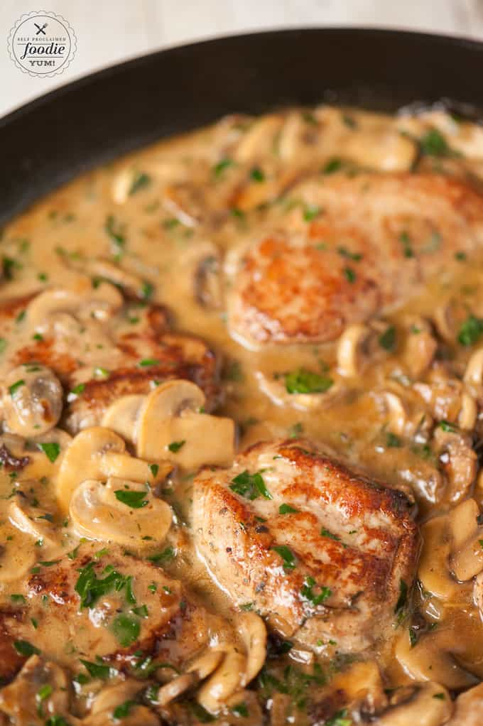 Pork Marsala with a mushroom wine sauce
