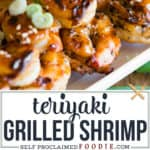 Teriyaki grilled Shrimp skewers with homemade sauce