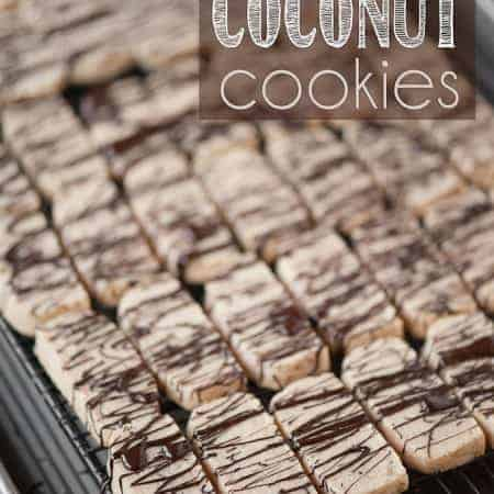 coconut cookies drizzled with chocolate