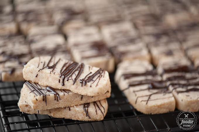 shortbread coconut cookies with chocolate