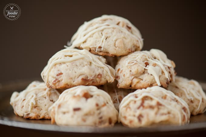 These Toasted Macadamia Coconut Cookies with a white chocolate drizzle cook perfectly every time and are full of nutty flavor.