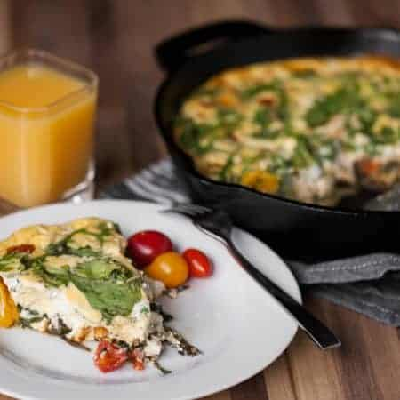 Tomato Arugula and Goat Cheese Frittata