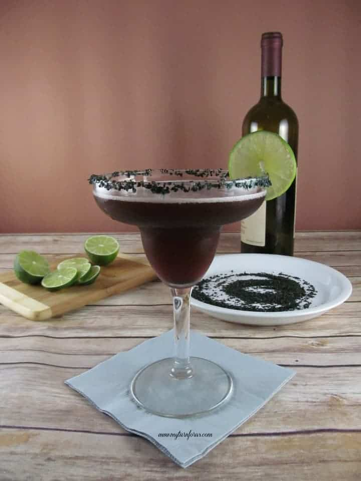 red wine margarita with black salt make great halloween drinks - Great Halloween Drinks