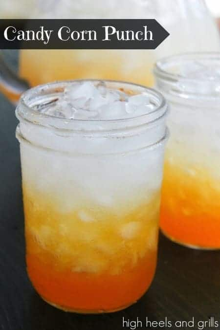 Easy Halloween Drinks including Candy Corn Punch that's a Halloween drink for kids.