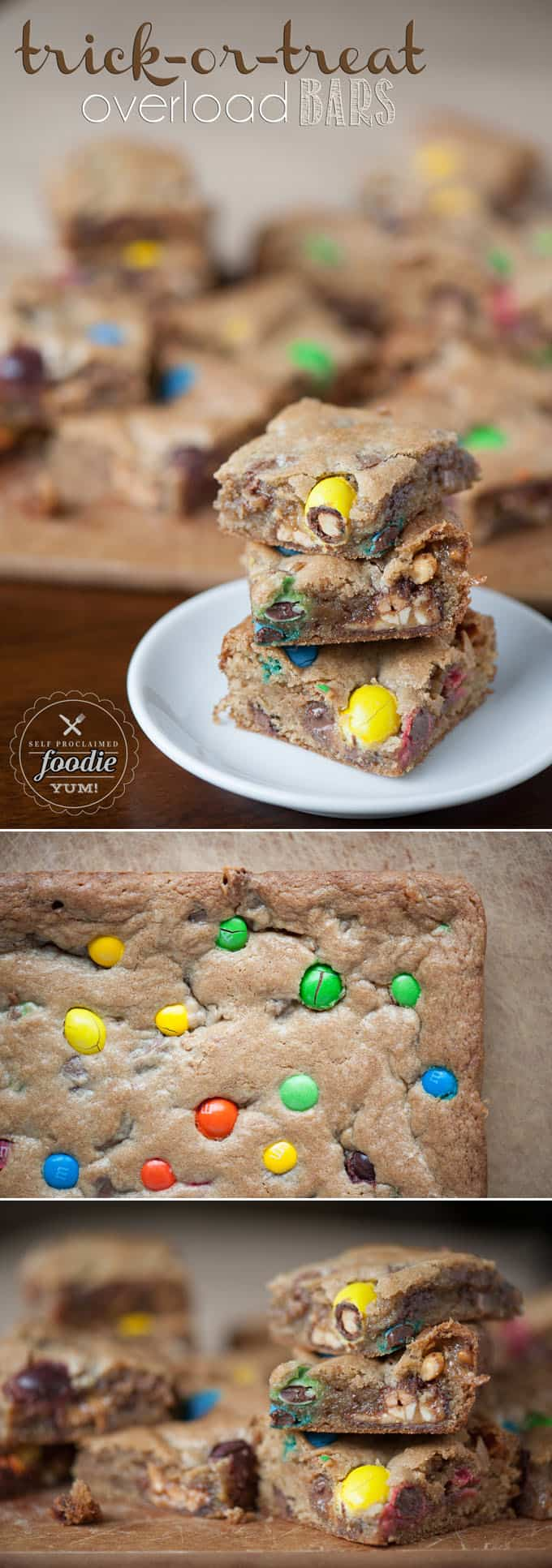These Trick-or-Treat Overload Bars are the best use for leftover Halloween candy, insanely delicious, and an easy to make cookie bar dessert treat.