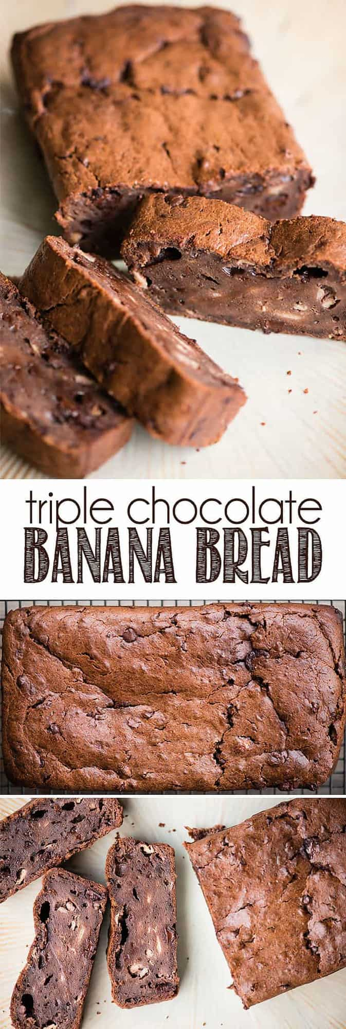 Triple Chocolate Banana Bread is an incredibly moist sour cream banana bread made extra chocolately from cocoa powder, chocolate chunks, and mini chocolate chips. The result is a dense sweet quick bread that is loaded with both chocolate and banana flavor. Enjoy it with coffee for breakfast or as a sweet snack! #bananabread #chocolate #chocolatebananabread
