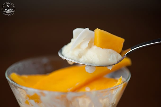 This Tropical Tapioca Parfait made with fresh mango, toasted sweetened coconut, and rich creamy tapioca pudding is the most perfect summer time dessert!