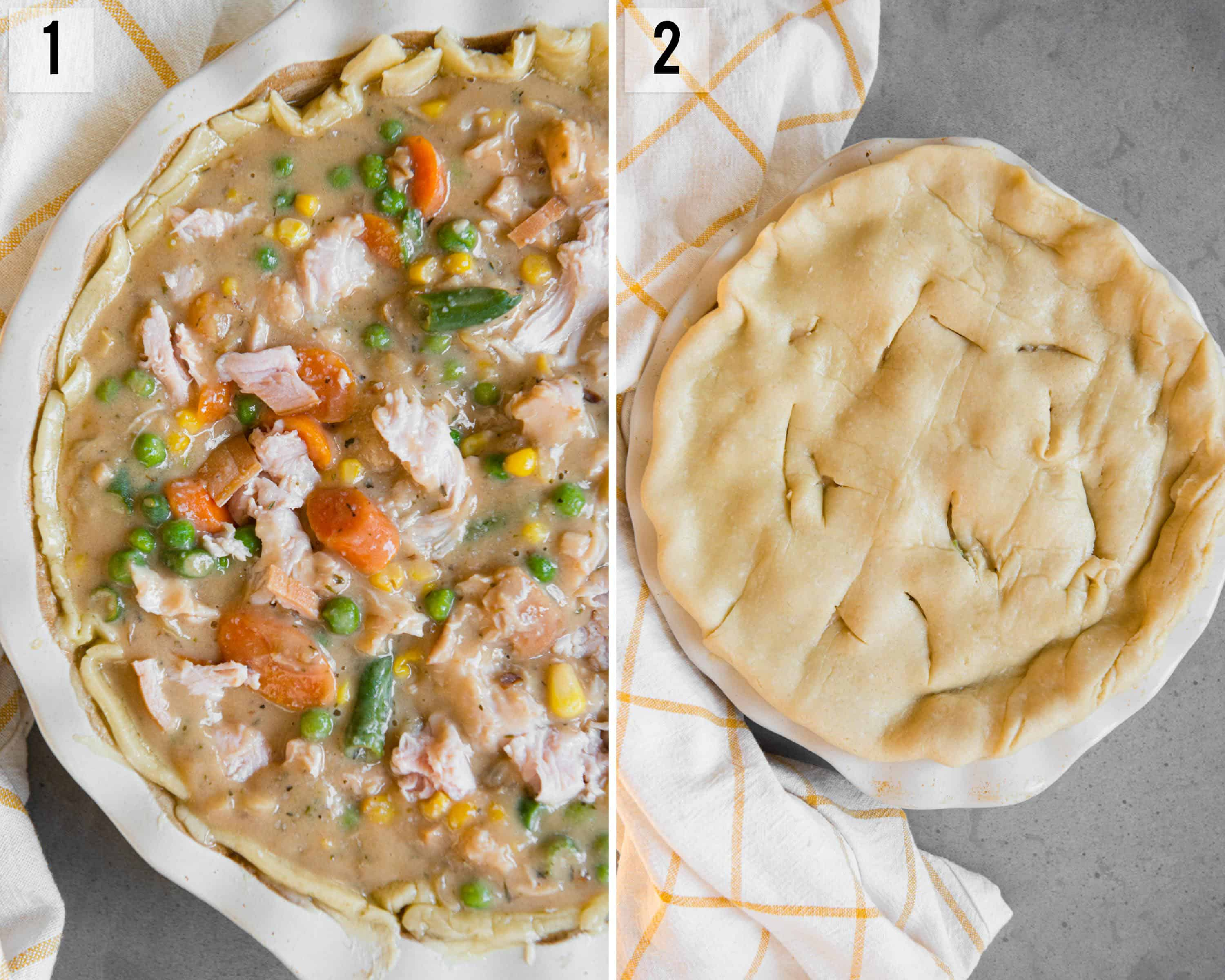 step by step instructions on how to make Turkey Pot Pie
