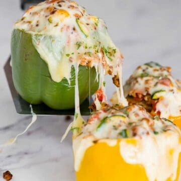 low carb stuffed peppers with turkey and cheese