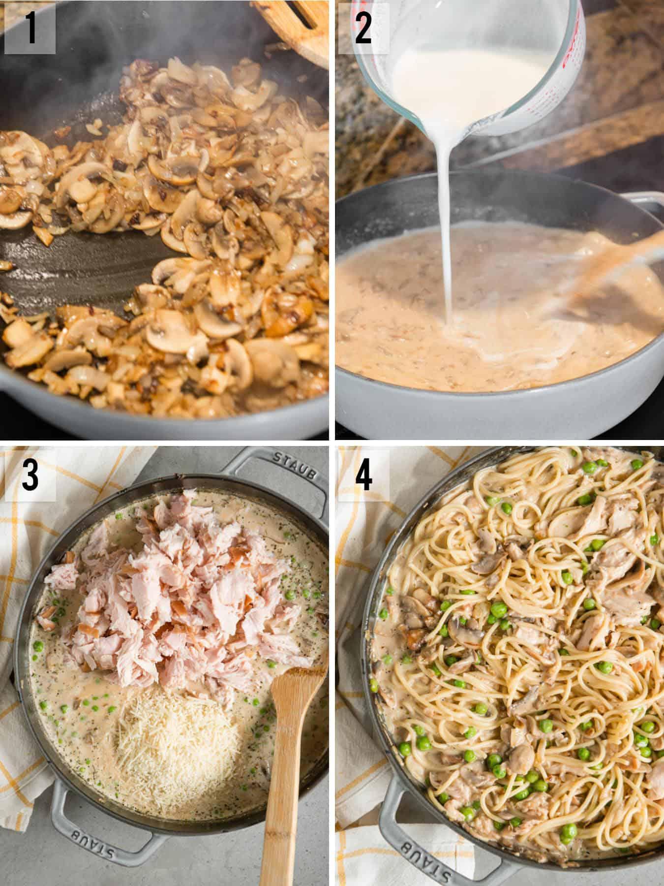 step by step recipe photos of how to make Turkey Tetrazzini