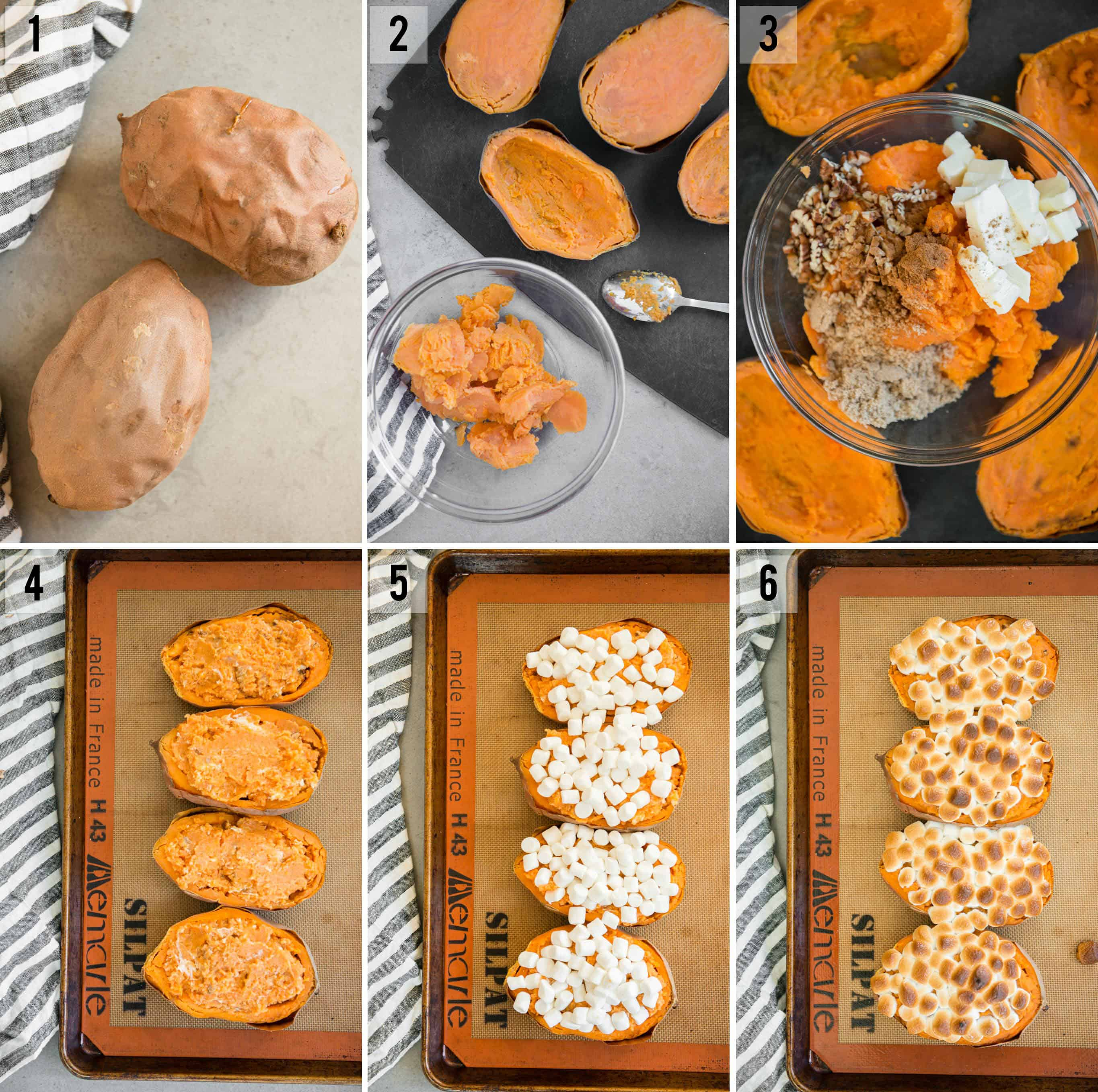 step by step instructions on how to make Twice Baked Sweet Potatoes