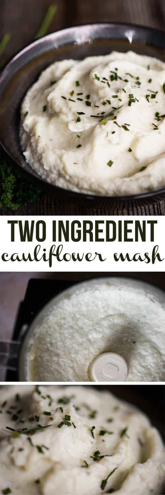 Two-Ingredient Cauliflower Mash is a quick, easy, healthy, low carb side dish that is so rich and delicious that you might actually mistake the flavorful cauliflower for creamy mashed potatoes! #cauliflowermashedpotatoes #cauliflowermash #mashedcauliflower #twoingredient