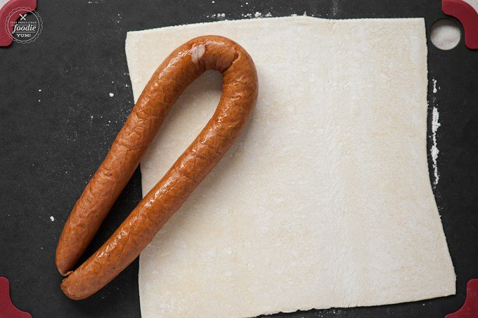 kielbasa and pastry dough