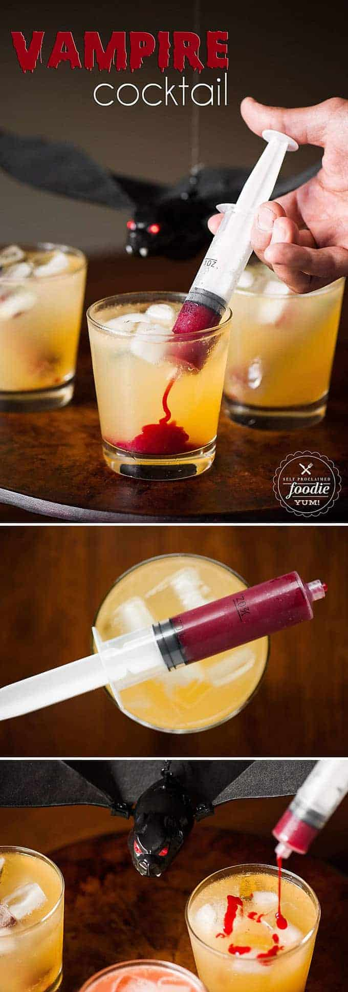 Vampire Cocktail is the perfect spooky Halloween drink. Syringes filled with sweetened raspberry puree look gory, but taste amazing! #halloween #halloweendrink #halloweencocktail #vampirecocktail #fakeblood #halloweenparty