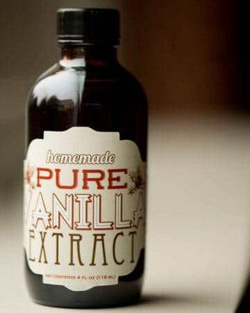 dark brown glass bottom with custom label of Homemade vanilla extract