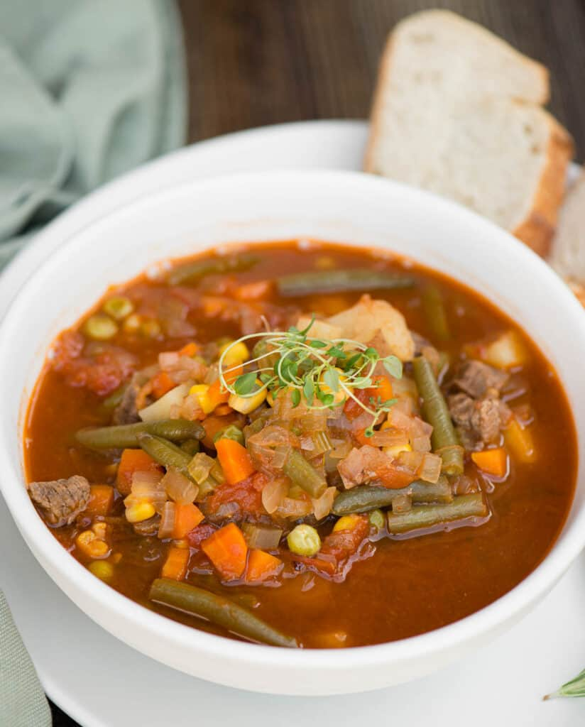 bowl of homemade beef and vegetable soup