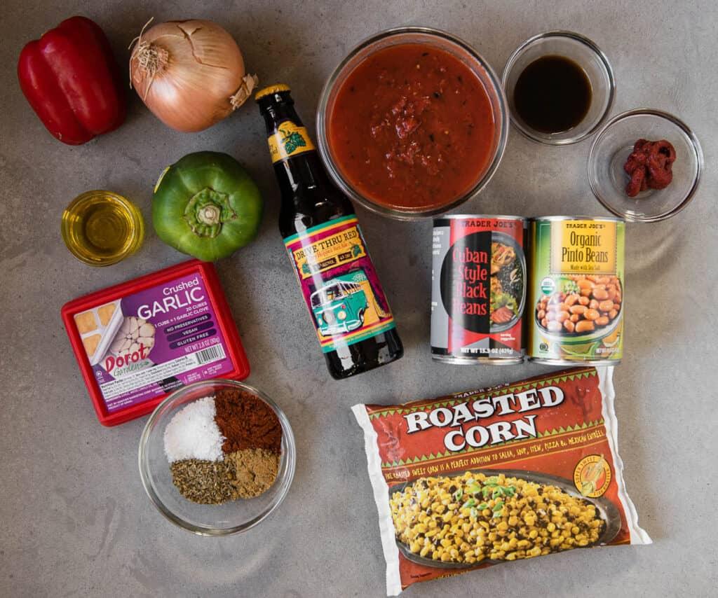 ingredients used to make vegetarian chili recipe