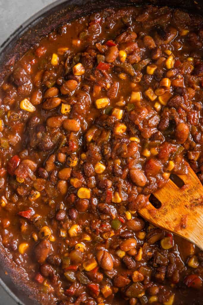 vegetarian chili with corn in pot