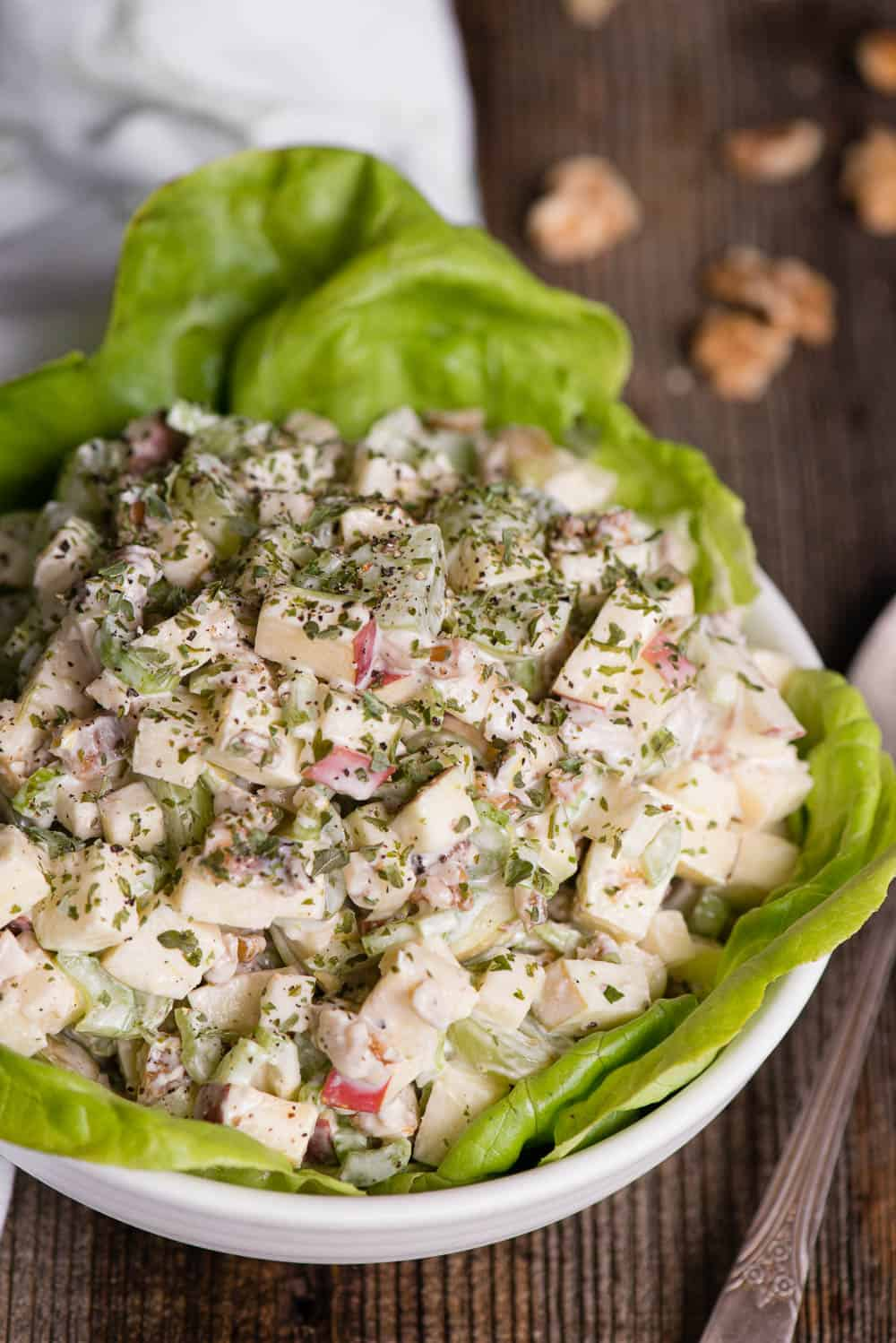 Waldorf Salad in bowl with butter lettuce