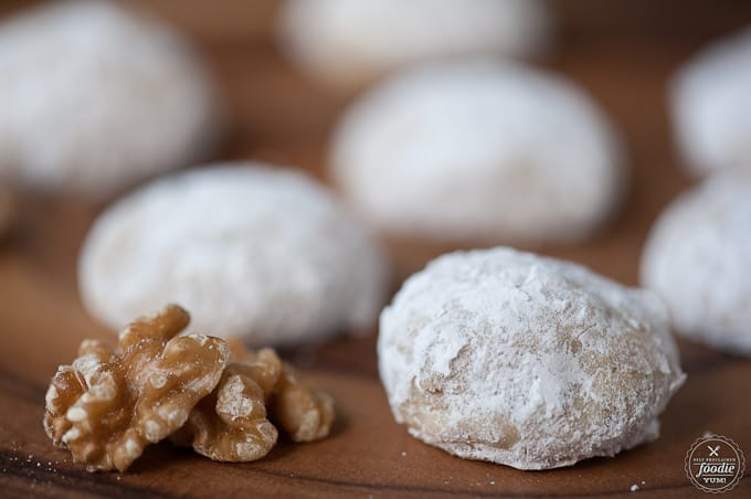 walnuts next to Russian tea cake cookies