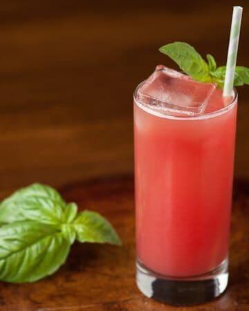 a glass of watermelon gin fizz with basil garnish