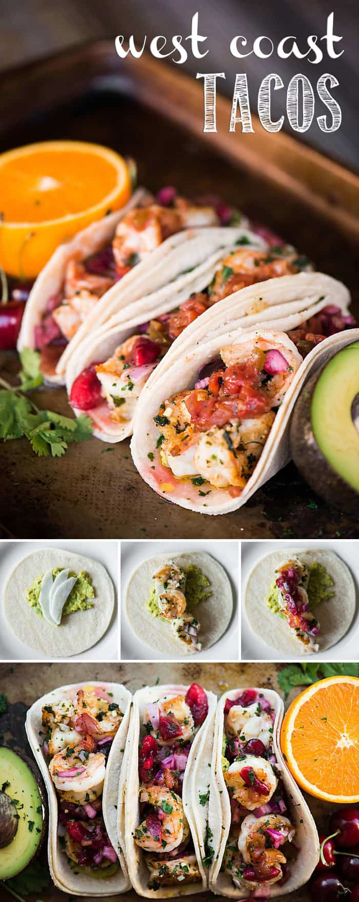 These West Coast Tacos are bursting with fresh flavors, combining orange and cherry salsa paired with avocado and your favorite protein for a tasty dinner.