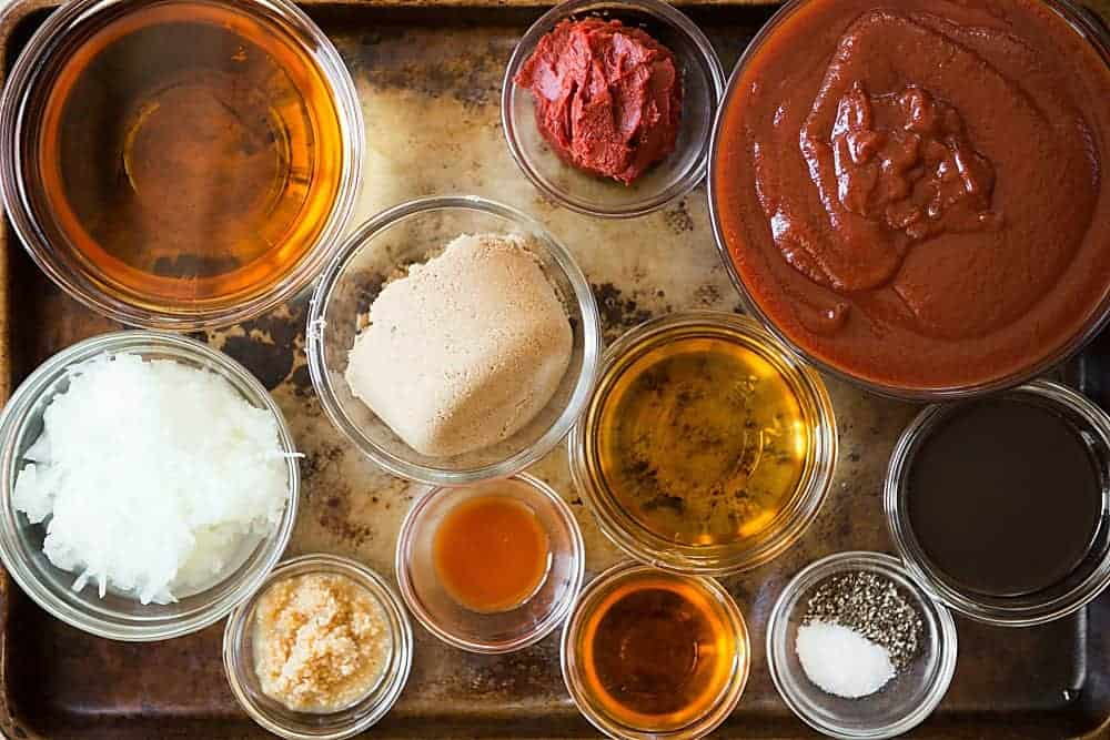 ingredients for homemade easy whiskey bbq sauce