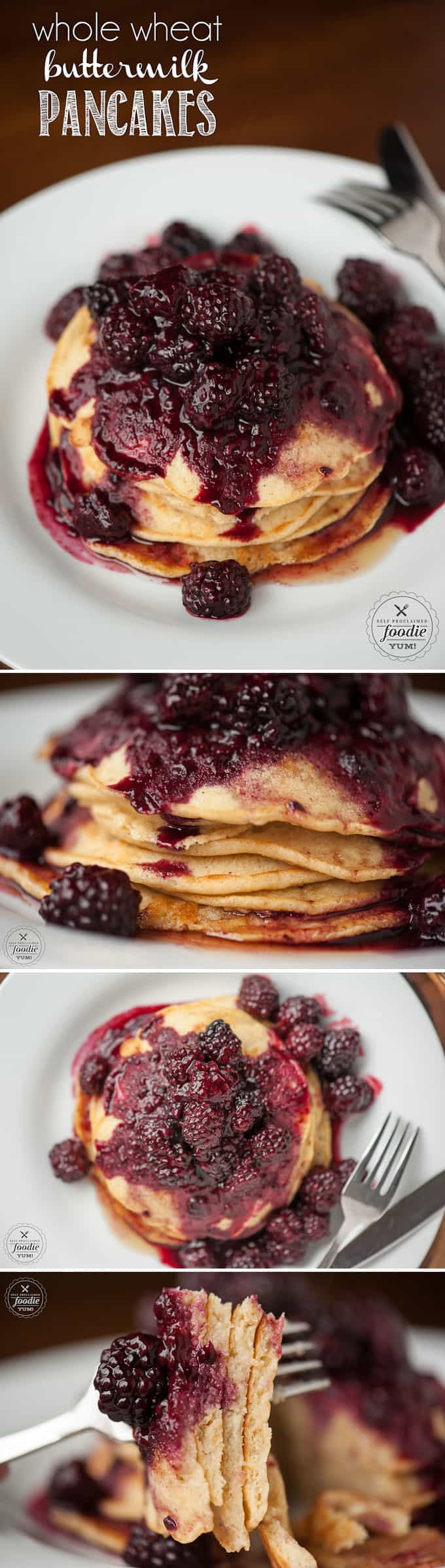 homemade wheat pancakes with berries