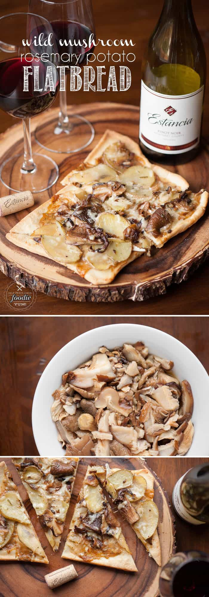Discover the art of entertaining by pairing a bold Pinot Noir with a delicious Wild Mushroom Rosemary Potato Flatbread appetizer.