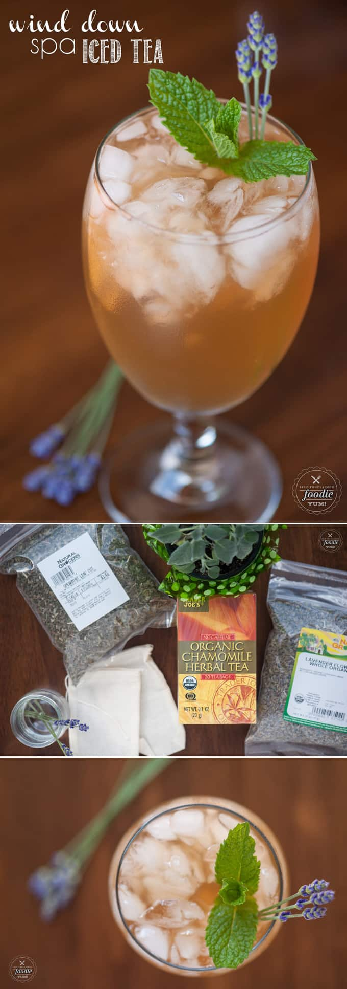 Transform your relaxing chamomile tea into this Wind Down Spa Iced Tea by infusing the vibrant flavors of lavender, sage, peppermint, and cloves.