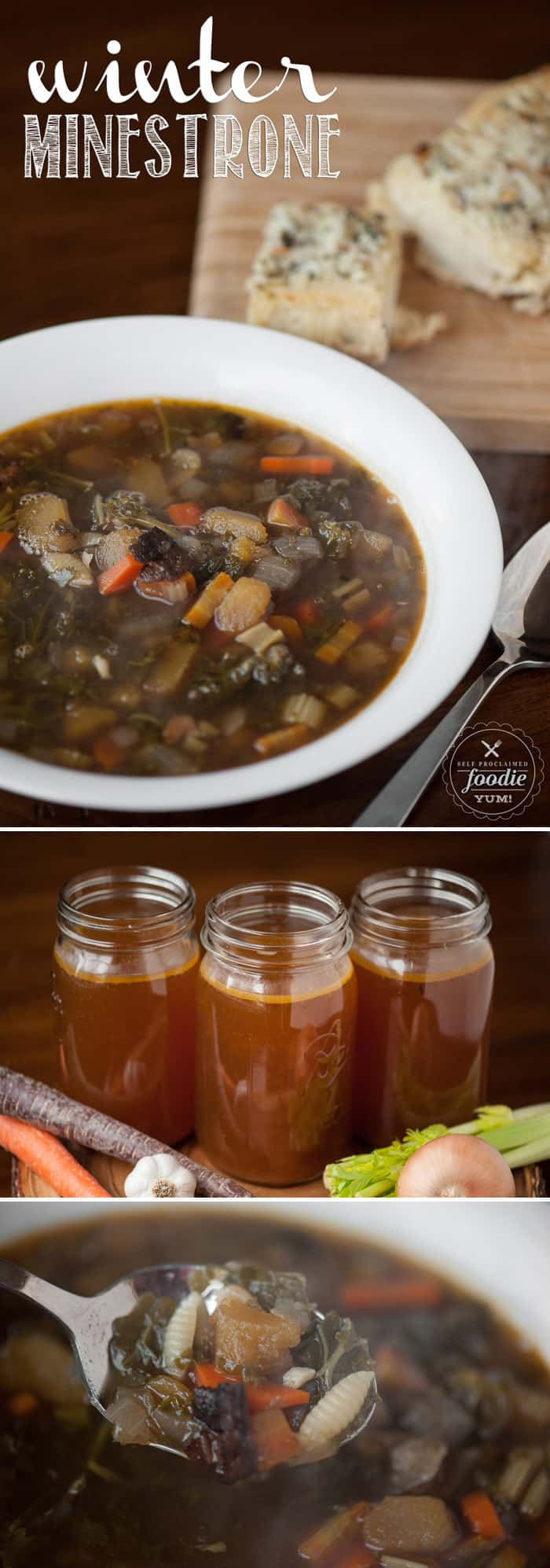 Homemade Winter Minestrone is a healthy and hearty winter soup full of cold weather favorites like kale, squash, beans, bacon, pasta, and savory beef broth.
