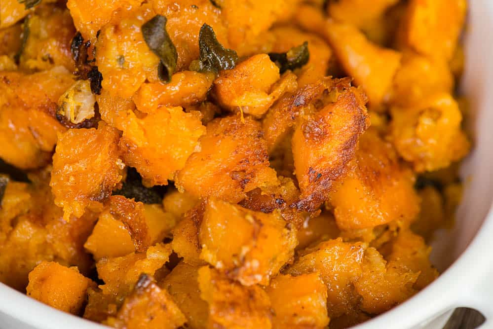 winter Squash Casserole with butter sage sauce and maple syrup
